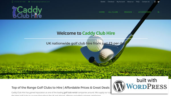 Caddy Club Hire Website