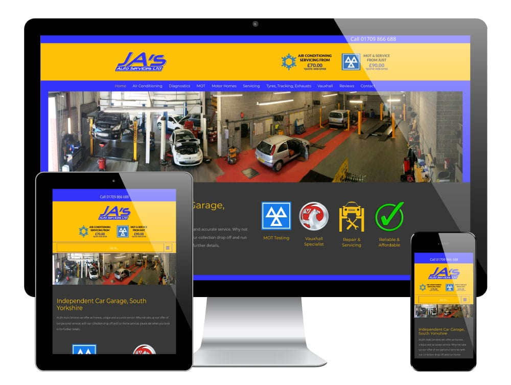 JA's Autos WordPress Website