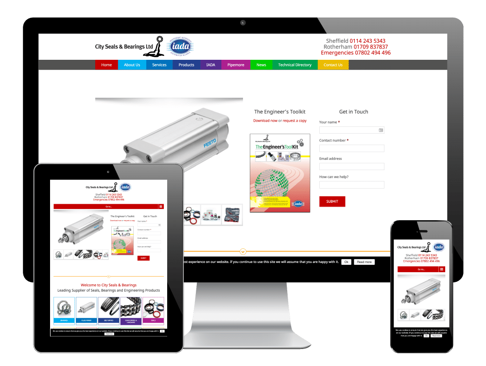 City Seals & Bearings, Sheffield - Responsive WordPress Website