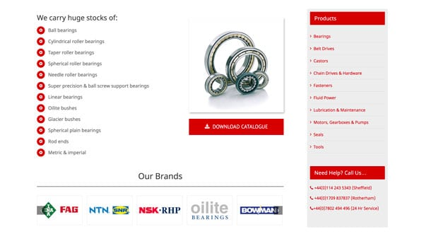City Seals & Bearings Website, Sheffield-Based