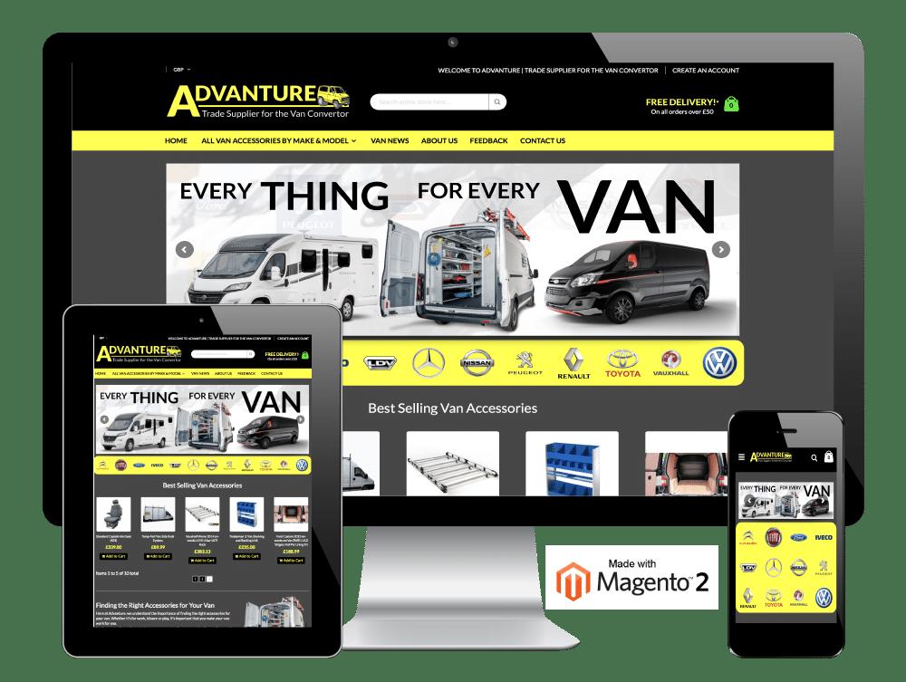 Advanture Van Accessories, Barnsley - Magento 2 Website Development Project