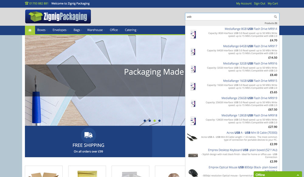 Magento Website for Zignig Packaging, Barnsley