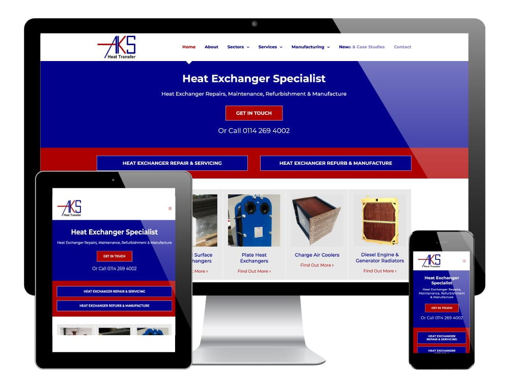 AKS Heat Transfer, Sheffield - WordPress Website
