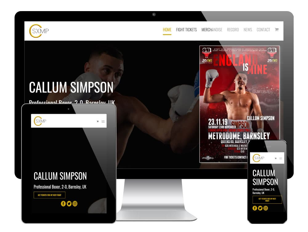 Callum Simpson, Pro Boxer Website