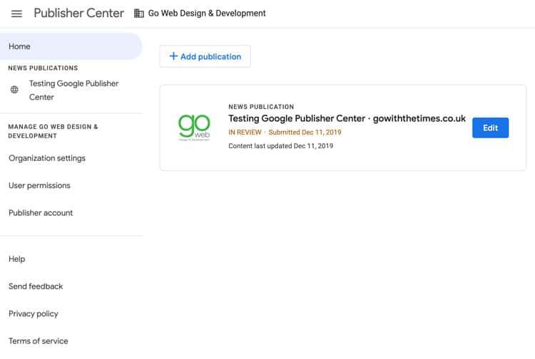 Google Publisher Center