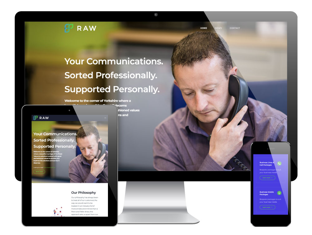 WordPress Website Designed & Built for Raw Communications, Rotherham