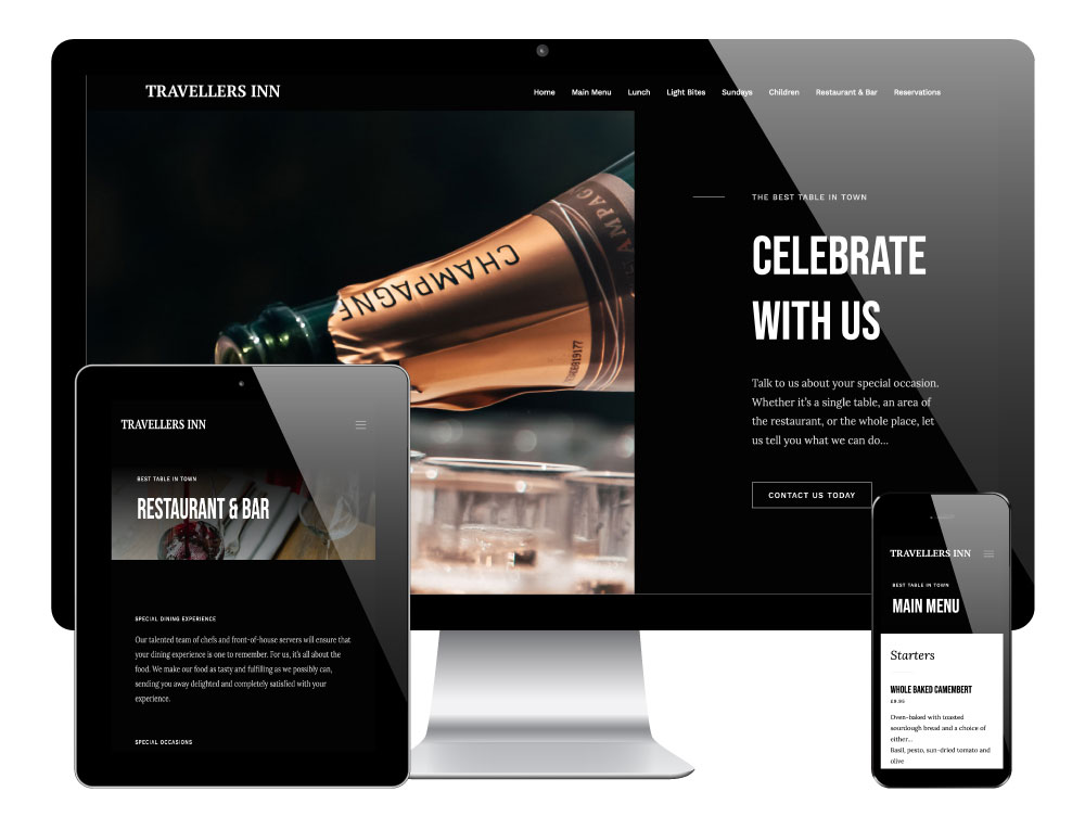 WordPress Restaurant Website for The Travellers Inn, Birdwell, Barnsley/Sheffield
