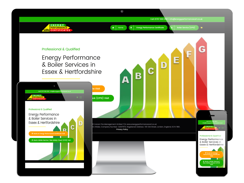 Energy Performance Certificates, Essex. WordPress Website by Go Web Design & Development