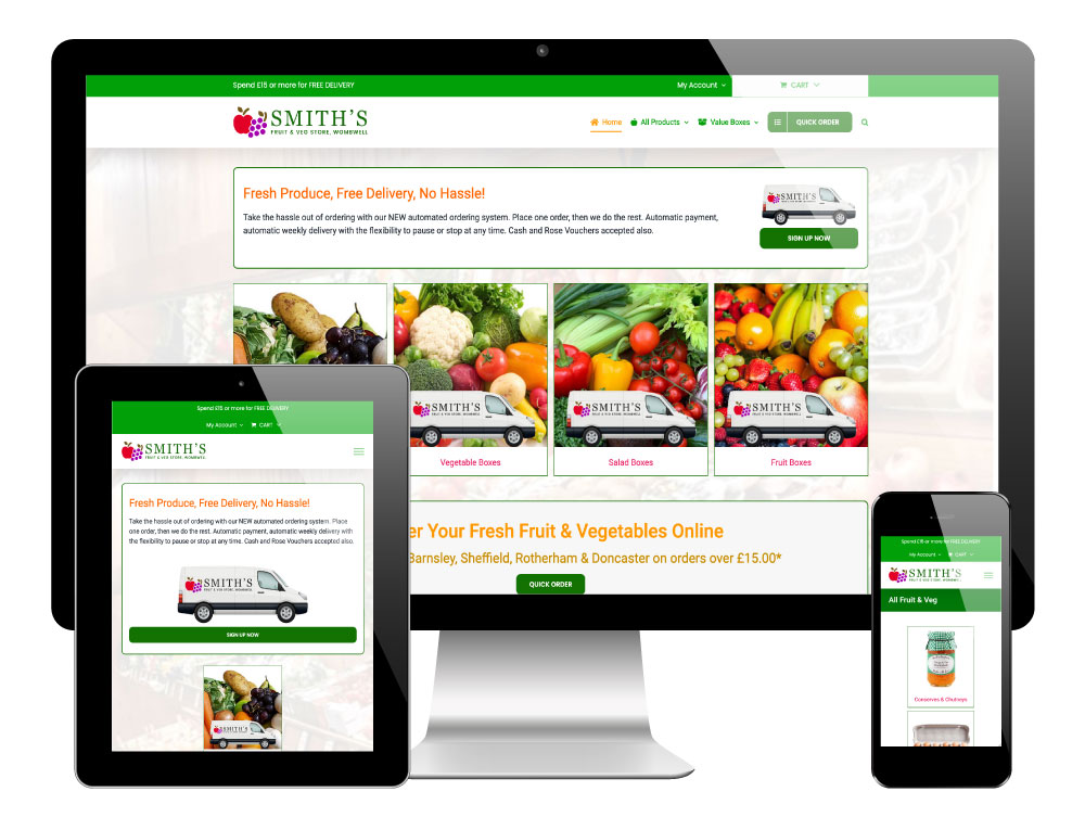Smith's Fruit Stores, Wombwell, Barnsley - WooCommerce Website